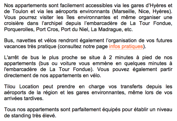 location appartement giens hyères description info pratiques